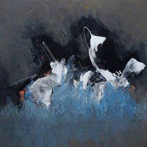 MELTWATER BLUE, 2020. 100 x 100 cm, acryllic paint on canvas